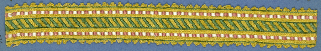 Trimming fragment in a design of diagonal green bands set between borders of red and white; picot edges.