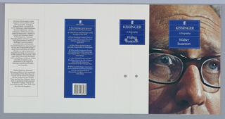 Front cover, closeup photographic image of upper portion of  Henry Kissinger's face, wearing thick dark-rimmmed glasses. Superimposed on top of photograph at upper center of page, blue box with five lines of white text; first line, Faber and Faber logo; second line, title; third line, subtitle; fourth and fifth lines, author's name.