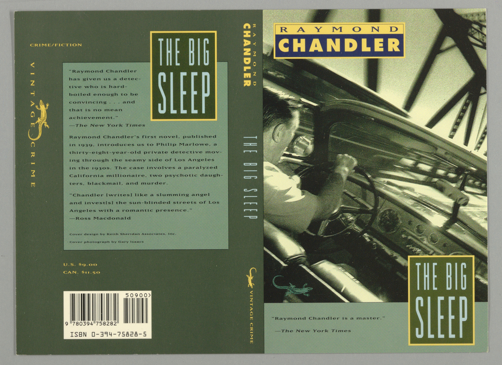 Front cover, green-toned photographic image of three-quarter view of back of man's head with hair slicked back driving a vintage-style convertable car on a bridge with right hand on steering wheel. Upper left, rectangle with author's first name in upper half in purple text on beige and author's last name in lower half in beige on purple. Thick seafoam green band along lower edge of cover with two lines of book review in dark green text. Superimposed on top of green band and part of photograph, vertical dark green rectangle outlined in beige with title on two lines in pale blue text. Back coveron upper right, vertical dark green rectangle outlined in beige containing title in pale blue text superimposed on top of large seafoam green square with ninteen lines of book review in dark green text, all on dark green border. On vertical upper left of border,  Vintage Crime logo with lizard, all in beige text. Spine, dark green with author's first name in beige tex, last name in thicker beige text. Title in light blue text and Vintage Crime logo with lizard in beige text.