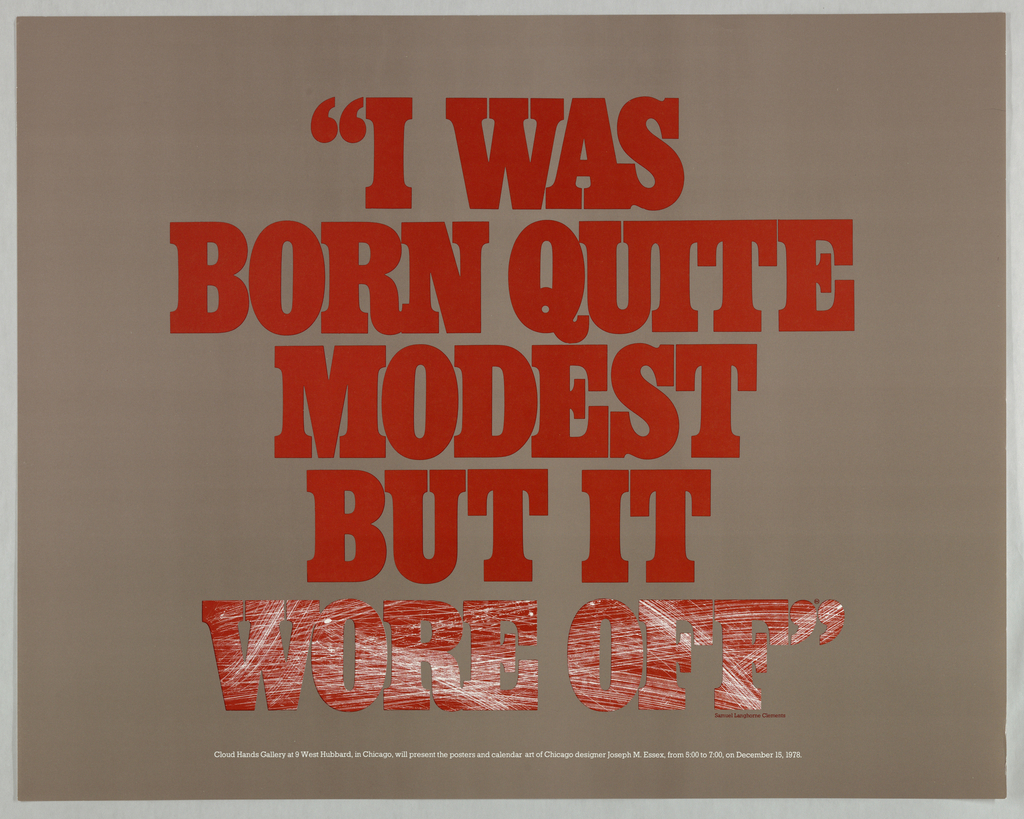 Poster, I was born quite modest but it wore off, 1978