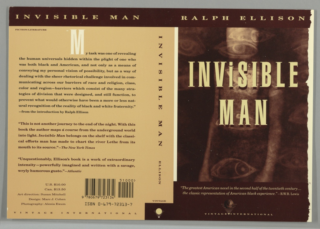 "Front cover, blurry figure overlaid with eye pattern [like tatoos]. Title in beige superimposed on figure. On upper edge of cover, brown band with author's name in beige. On lower edge of cover, brown band with two lines of italicized beige text above Vintage International logo. Back cover, three paragraphs of brown text with white ""M"" starting first paragraph on peach ground. Upper edge has brown band with book title in beige. On spine, title anad author in brown letters on peach ground."