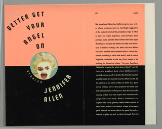Book jacket for Better Get Your Angel On, by Jennifer Allen, published by Alfred A. Knopf. Front cover bisected into two halves with pink background at top and black background at bottom. In center, circular image of woman in collage style with mismatched eyes, wide mouth, blonde hair, and a pale white face. Above, in black curving text: BETTER GET / YOUR / ANGEL / ON; below, in white curving text: STORIES / JENNIFER / ALLEN