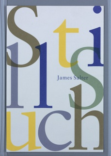 Title extends the full page and is cropped at the edges. In large, variously colored, overlapping letters: Sti/ll S/uch; at center right, in blue: James Salter.