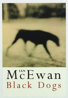 "Upper three-quarters of front cover, blurry, shadowy, sepia -colored photographic image of black dog. Below photograph, on cream ground, author's last name in large black letters with first name above the ""C"", followed by title in red."