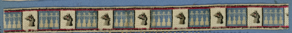 Heraldic trimming fragment in a design of squares showing four crosses on mounts in white on a blue ground separated by ostrich heads in black and gray.