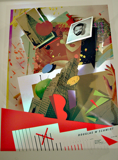 Poster depicts a collage-like image, including photographs and images of different objects, like an apple, building, geometric shapes, splatters of paint; below, DOUGLAS W SCHMIDT on a partial graph on red ground.