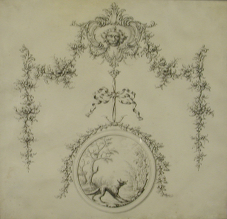 Design for a decorative swag with, attached by a ribbon, an oval medallion with a vignette of a fox in a landscape.
