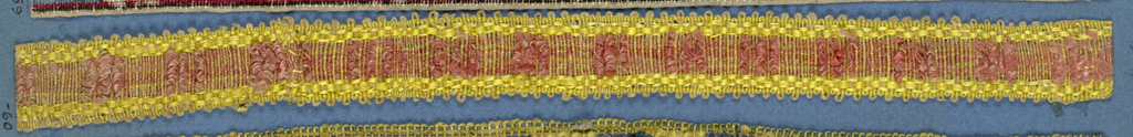 Yellow and pink trimming fragment in a design of a central band showing squares alternately in pink velvet and pink plain weave with yellow borders and picot edges.