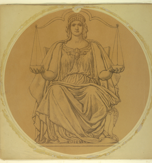 Allegorical representation of Justice holding bowls of a balance in each hand, her hair is in ringlets held back by a band.  She is seated on a chair with ball and claw feet, and her foot is visible sticking out from beneath her drapery.