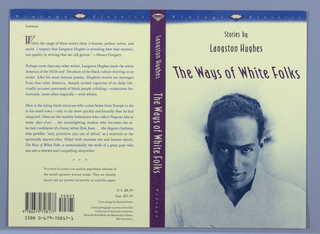 Front cover, blue-toned photographic image of Langston Hughes below title in purple. Above title author's name and description of book contents on two lines in black text, all on yellow ground. Blue band along upper edge of cover containing