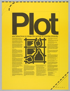 """Yellow ground. In very large black letters: """"Plot"""" and a description of the summer design program at Columbia University beneath, with a central graphic at center - perhaps meant to represent the campus. Dashed line at top and right bottom corner, where applicant information may be filled out"""