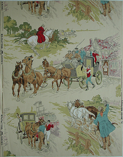 """Several old English scenes in the """"sporting print"""" style. The arrangement is random, the largest motif, a stage coach leaving a country inn, extending the width of the paper. Other motifs are: a highwayman about to challenge a party in a carriage, a plowman waving his cap, and a carriage drawn up before an inn. Printed in red, white, green, yellow, brown, blue and pink on cream ground."""