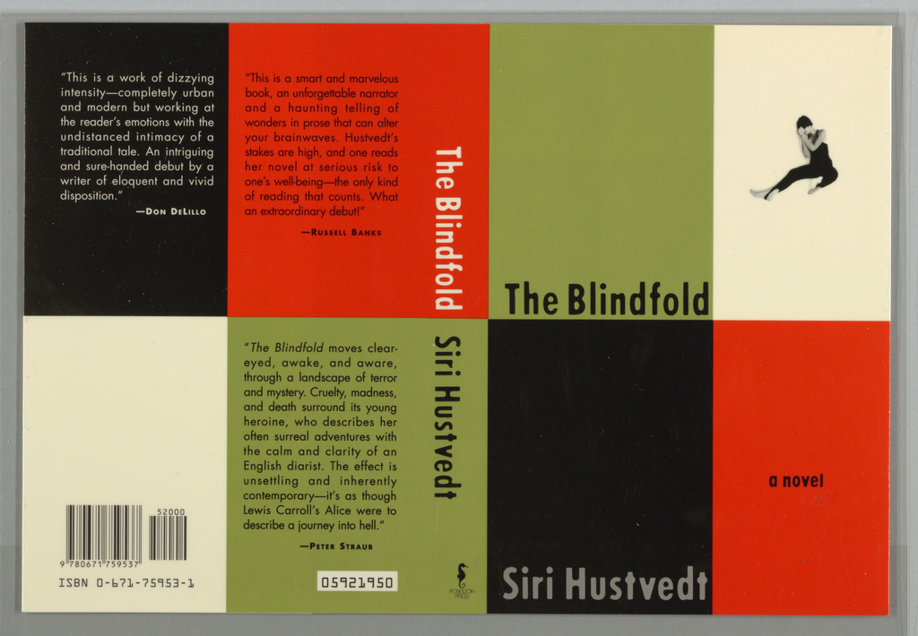 """Book jacket design for the novel """"Blindfold."""" Checkered pattern of black, red, white, and green rectangles fill the composition across front and back cover. At front cover, a green rectangle at upper left with black printed text showing the novel's title at bottom. At upper right, a white rectangle with a photoillustration of a female figure wearing a one-piece dance costume, her body stretched out in the splits, and her hands shielding her face. At lower left, a black rectangle with gray text showing the author's name. At lower right, a red rectangle with black printed text. The upper portion of the spine with white text on red background; the lower portion with black text on green background. Publisher's imprint's name and colophon (logo) in black at bottom. At back cover, a reversed color pattern from the front cover, with black and white printed text reviews at three of the rectangles, the bar code and ISBN printed in black at lower left."""