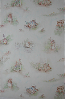 Children's paper with images of rabbit and mice, going about their daily routine.