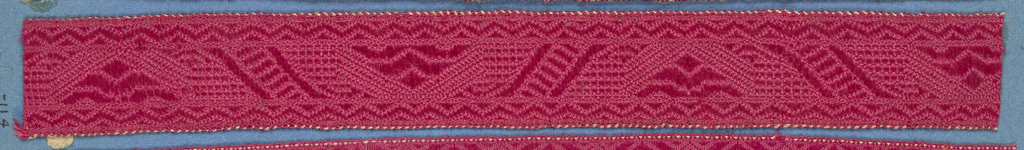 Red trimming fragment in a design of a conventionalized flower placed alternately up and down and separated by diagonal bands; borders in pattern of triangles.