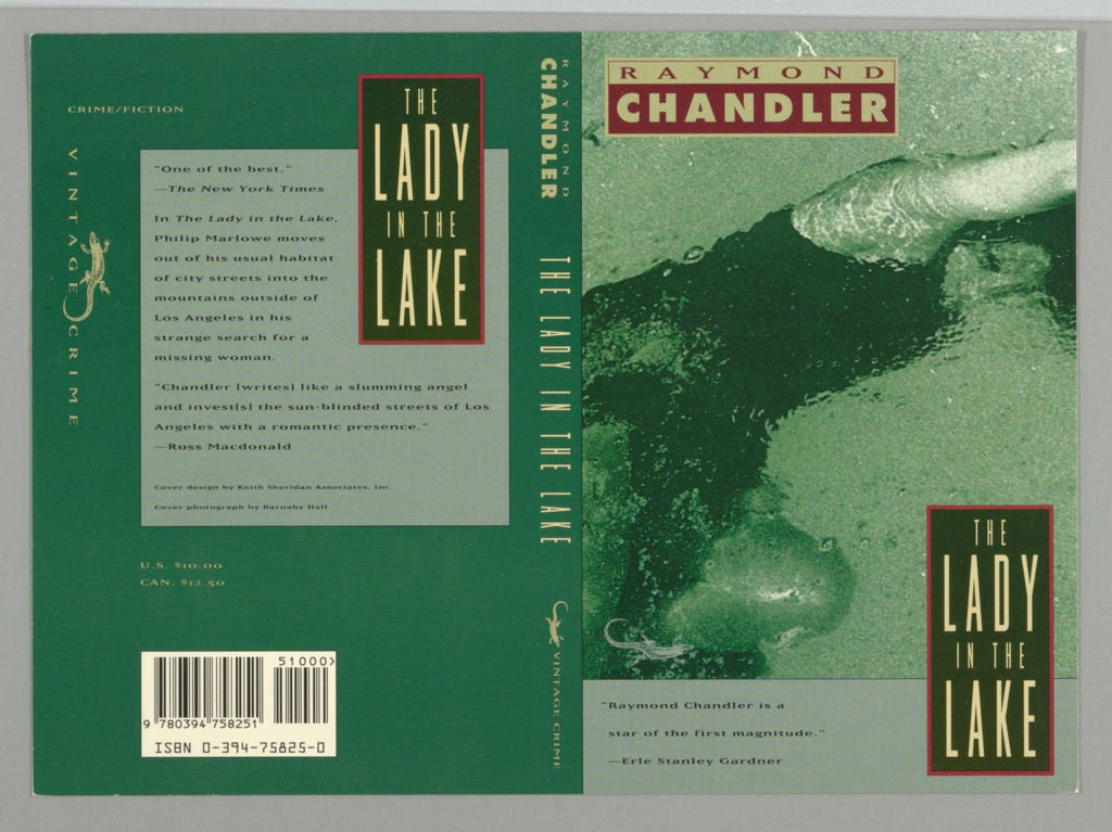 Front cover: Partial depiction of a woman underwater with outstretched limbs. Above, in red on yellow rectangle: RAYMOND; in yellow on red rectangle: CHANDLER; lower right corner, in yellow on black rectangle with red border: THE/ LADY/ IN THE/ LAKE; below, in black on grey rectangle: book review. Back cover: dark green background with grey rectangle at center, text: book reviews. Overlaying the grey rectangle, upper right corner, in yellow on black with red border: THE/ LADY/ IN THE/ LAKE.