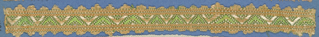 Trimming fragment in a design of green and white chevrons on a pink ground; picot edges.