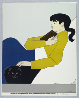 Vertical format. Seated figure of a girl shown in profile, holding a book to her chest and petting a black cat at lower left. She wears a yellow shirt with blue skirt and has long black hair. Printed black text at bottom. One of seven posters in a paper portfolio.