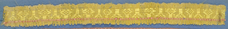 Pink and yellow trimming fragment with a central band of alternating flower and line motifs. One red border and one yellow border; picot edges.