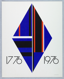 Vertical rectangle. At center, three blue triangles form a diamond shape, each triangle containing vertical and horizontal bands in black, red, and white. Printed dates surrounding diamond near bottom of composition. One of seven posters in a paper portfolio.