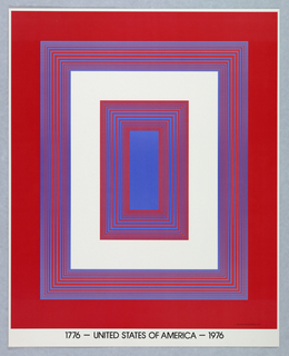 Vertical rectangle. Series of concentric rectangles of various sizes in red, white, and blue. Between each opaque rectangle, a group of red and blue rectangular lines in op-art style. White margin with printed black text at bottom. One of seven posters in a paper portfolio.
