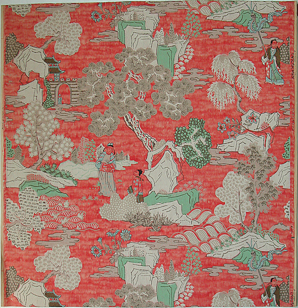 "Chinese figure paper. Random arrangement of pine trees, willows and figures in a typical ""rock garden"" setting. Two figures conversing beneath a pine tree make up the major element of the design, while diagonally to the left, above and below, are a house and bridge; on the right, a priest with pole and streamers. Printed in gray, white, green, blue and gold on red ground."