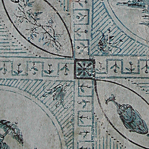 Vertical rectangle. Repeating pattern of squares containing alternately a circle enclosing a seated figure holding a parasol, and four intersecting arcs enclosing urns and foliage. The large squares are separated by simple meander bands set with conventionalized tulips.
