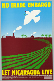 Agrarian farm scene; on brown ground, green curving rows indicate plowed fields. At the horizon, green palm trees, a factory with smoke stack, a ship unloading goods at the shore, and a figure driving a tractor. In the blue sky above, a white dove in flight carrying an olive branch.