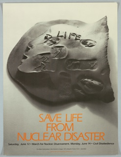 Photograph of sculture by Mary Frank; life symbols/fossils within face Ad for March for Nuclear Disarmament, New York City; produced for War Resisters League
