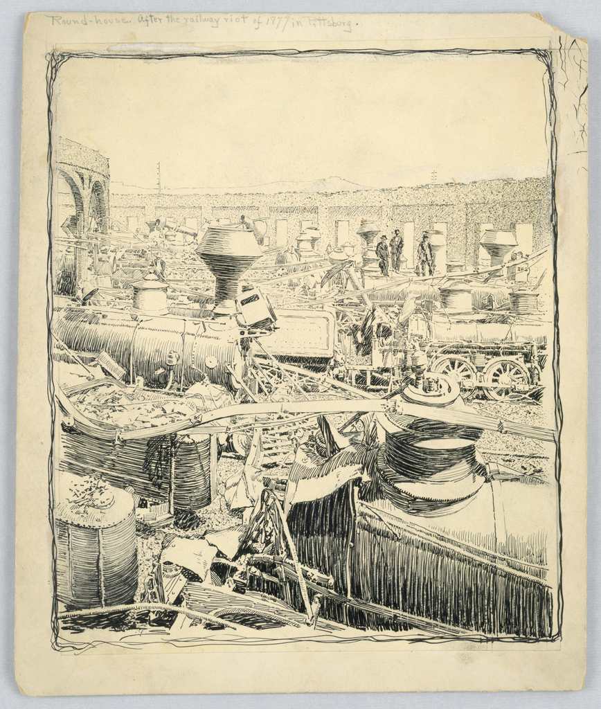 The destroyed locomotives in a wrecked round-house after the 1877 railway riot in Pittsburgh. Amidst the destruction, some train units, smokestacks, and wheels can be discerned, but massive damage has been done. Figures in the background survey the scene.