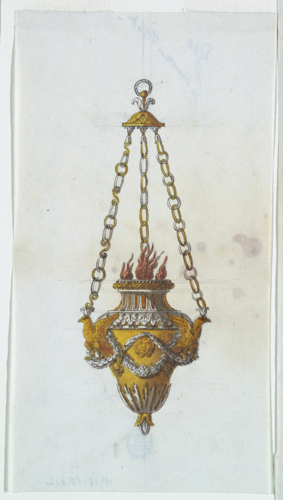 Vertical rectangle. Design for an altar lamp hung from three chains, starting from calyces upon the heads of birds. Two waved garlands of leaves are intertwined at the body. The birds stand between the garlands, and a mask is at the front. Three flames burn at lamp's opening.