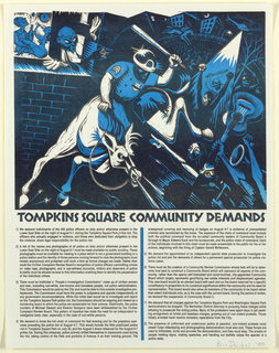 Print of policeman on horse attacking people; list of demands following Tompkins Square riot. [Extensive text Tompkins Square riot demands]