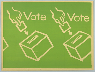 "Two hands inserting ballots into ballot boxes are shown. The word ""Vote"" appears at the right of each hand. The words and images appear in cream against a green background."