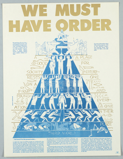 Drawing of pyramid with people at various levels for the War Resisters League.