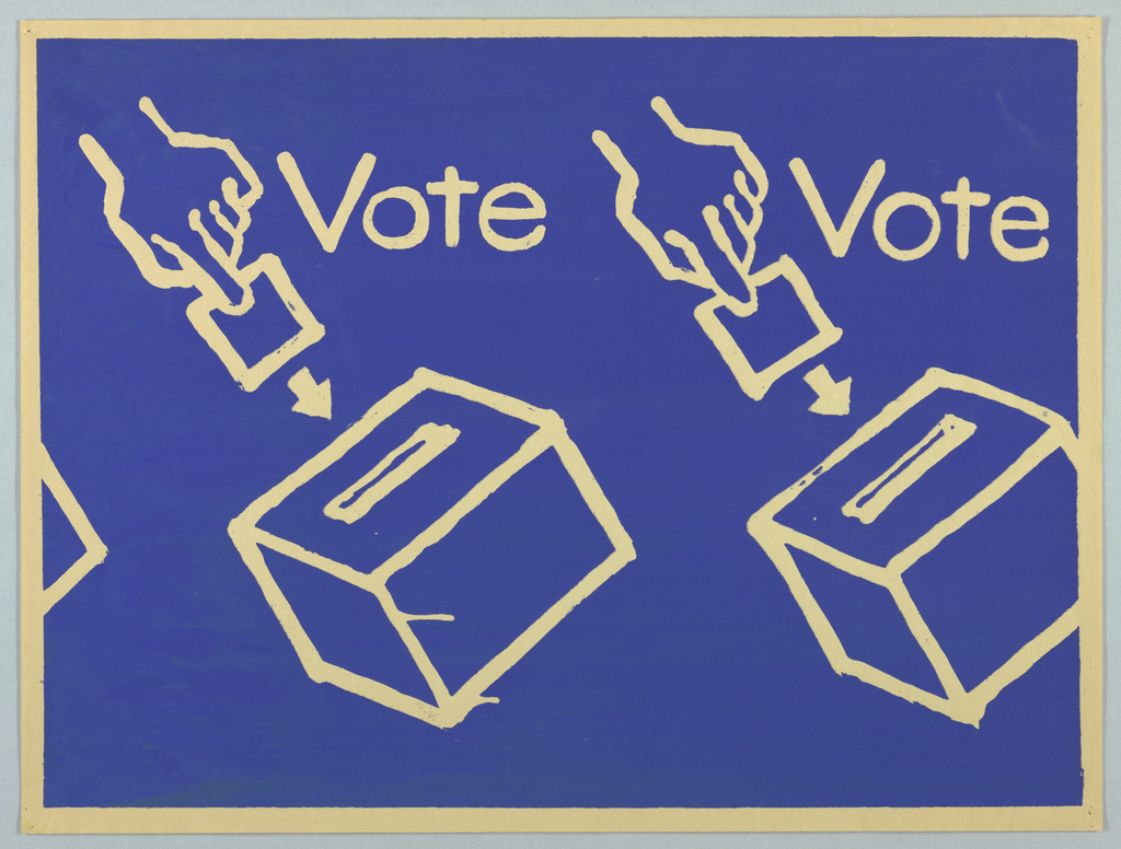 """Two hands inserting ballots into ballot boxes are shown. The word """"Vote"""" appears at the right of each hand. The words and images appear in cream against a blue background."""