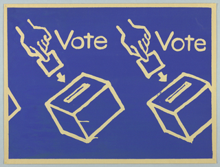 "Two hands inserting ballots into ballot boxes are shown. The word ""Vote"" appears at the right of each hand. The words and images appear in cream against a blue background."