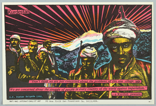 Print of Kurdish peasants with quote For Anti-WW3 Internationalist Art; a response to Iraqi persecution of the Kurds.
