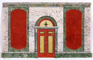 Horizontal rectangle. Elevation of a marbled wall, double door at center, red panels right and left, seven small sun-bursts in cornice.  Red paint cracking.