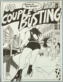 Black and white drawing of woman with weapon on roller skates, attacking couples.