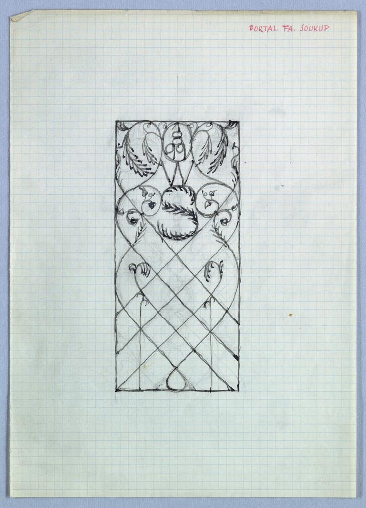 Design for a gate with vegetal motif.