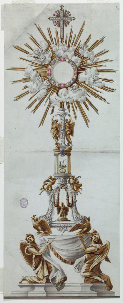 The shaft has the shape of a round pedestal below, which supports an urn, above which rises a baluster. The receptacle is surrounded by a glory of cherubim and rays. At top is a cross. Coloring suggests partial gilt.