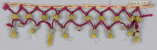 Heading of narrow tape with intervals of appliqued red cord. Cords are caught together in lozenge pattern and end in loops. Decorated with ornaments of yellow and cream-colored silks.