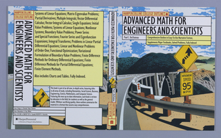 "Book jacket design for ""HarperCollins College Outline: Advanced Math for Engineers and Scientists,"" written by Paul C. DuChateau. Spanning across the front cover, back cover, and spine is a curving illustration of a landscape scene depicting a curving road with bright yellow road signs at foreground, a fractured bridge in the middle ground, and hills in the background. At front cover, the book's title, author's name, and descriptive text superimposed over the illustration in white and yellow text boxes. Back cover, at left: text divided into various boxes and printed over illustration from front cover. Boxes in yellow and white contain book synopsis. Spine: title printed vertically over a detail of the front cover illustration with publisher's name and colophon (logo)."