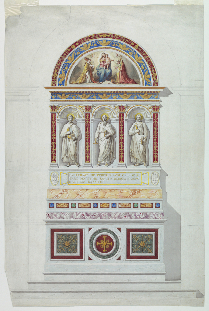 """In the style of the early Renaissance. Three stripes lead up to the mensa. In the base of the retable between two medallions with the coat-of-arms is a tablet with the inscription: """"GVILLERMVS DE PEREIIS AVDITOR HDC AL / TARE DEO ET HIS SANCTIS DEDICAVIT ANNO / I DMCCCCLXXXXIIII"""". Above it stand the statues of St. Peter, St. Paul, St. Bartholomew in niches. On top is a lunette with a painted representation of S. Anselmo and S. Idelfonso, as the captions read, kneeling in adoration beside the sitting Virgin, in whose lap the child stands. The outlines of the back wall of a chapel are shown."""