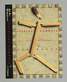 Design includes front cover and spine of book by Hub Brown.  Front cover features a photographic image of a wooden match that has been broken apart into seven different segments that have been arranged to resemble a figure.  The title, and author's name below, appear in red at the center of the cover.  Printed vertically along the spine is the author's name in white, the title in red, and the publisher's name, Knopf, and logo in white.