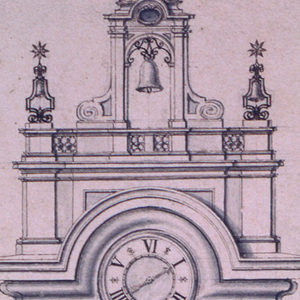 Elevation of a bell tower. Above the basement window, a grate of iron bars. A clock set into the pediment, below which is the text: ANNODOMINI MDCCLIII. At top, a cross and bell.