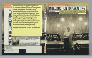 "Book jacket design for ""HarperCollins College Outline: Introduction to Marketing,"" written by Kurt Fisher. Spanning across the front cover, back cover, and spine is a photoillustration of a salesman between two used automobiles with prices painted on their windshields. He leans on the roof of the car at right. At front cover, the book's title, author's name, and descriptive text superimposed over the illustration in white and yellow text boxes. Back cover, at left: text divided into various boxes and printed over illustration from front cover. Boxes in yellow and white contain book synopsis. Spine: title printed vertically over a detail of the front cover illustration with publisher's name and colophon (logo)."