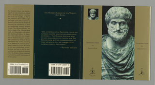 Book Cover, Modern Library: Introduction to Aristotle, 1992