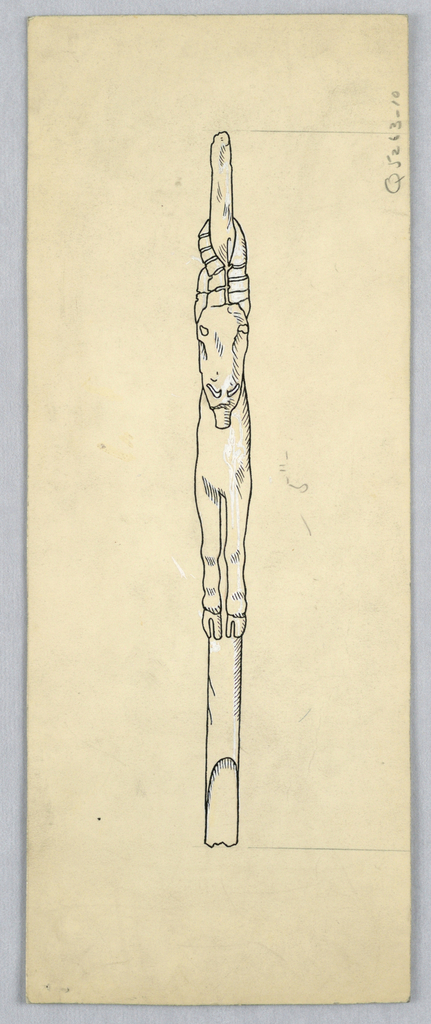 Drawing, A carved spear thrower, ca. 1895–1915