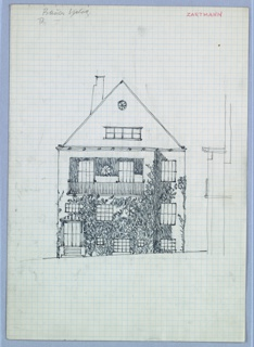Facade elevation of a house covered in vines.